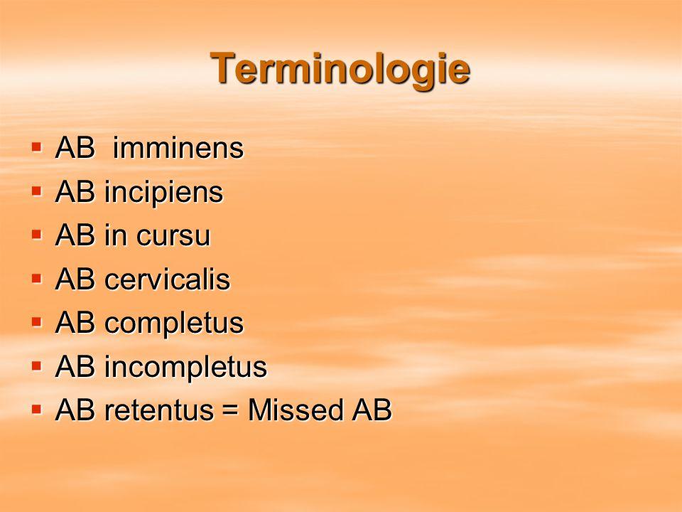 Terminologie  AB imminens  AB incipiens  AB in cursu  AB cervicalis  AB completus  AB incompletus  AB retentus = Missed AB