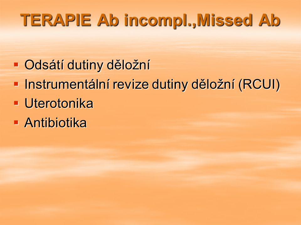 TERAPIE Ab incompl.,Missed Ab  Odsátí dutiny děložní  Instrumentální revize dutiny děložní (RCUI)  Uterotonika  Antibiotika