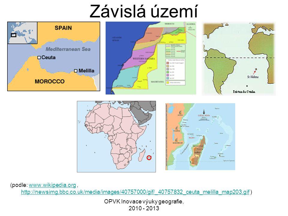 Závislá území (podle: www.wikipedia.org, http://newsimg.bbc.co.uk/media/images/40757000/gif/_40757832_ceuta_melilla_map203.gif )www.wikipedia.org http