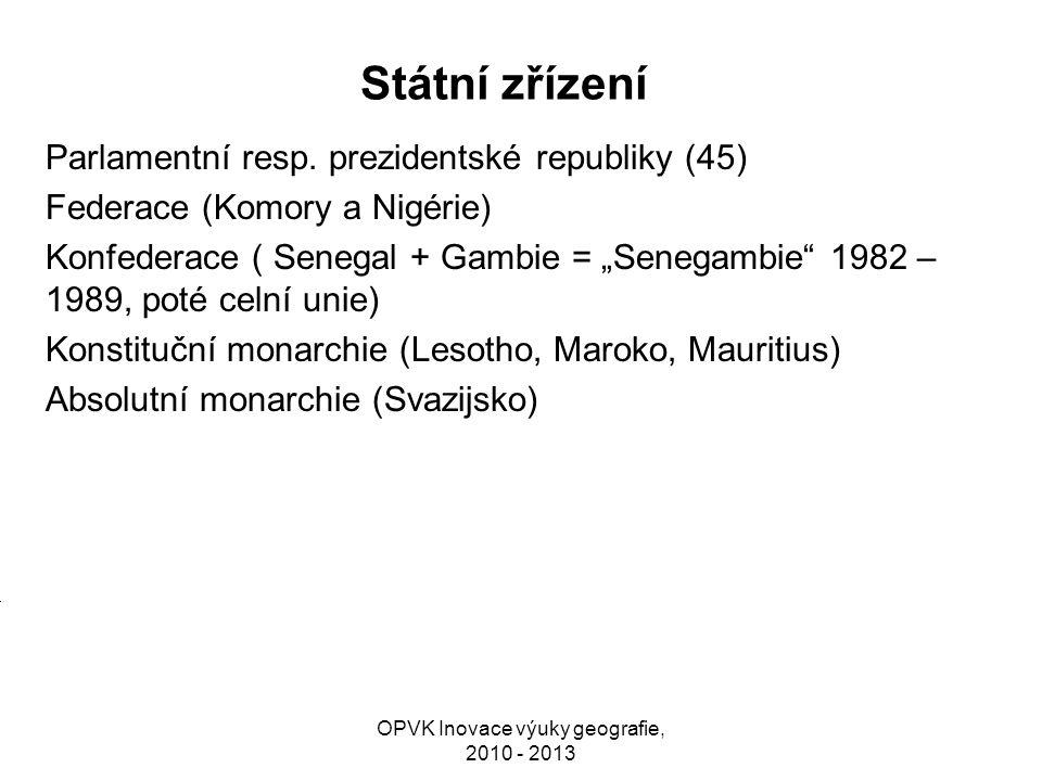 """Státní zřízení Parlamentní resp. prezidentské republiky (45) Federace (Komory a Nigérie) Konfederace ( Senegal + Gambie = """"Senegambie"""" 1982 – 1989, po"""