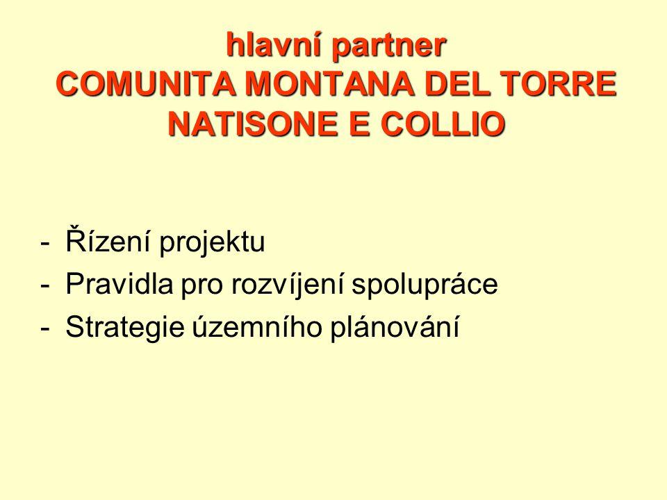 hlavní partner COMUNITA MONTANA DEL TORRE NATISONE E COLLIO -Řízení projektu -Pravidla pro rozvíjení spolupráce -Strategie územního plánování
