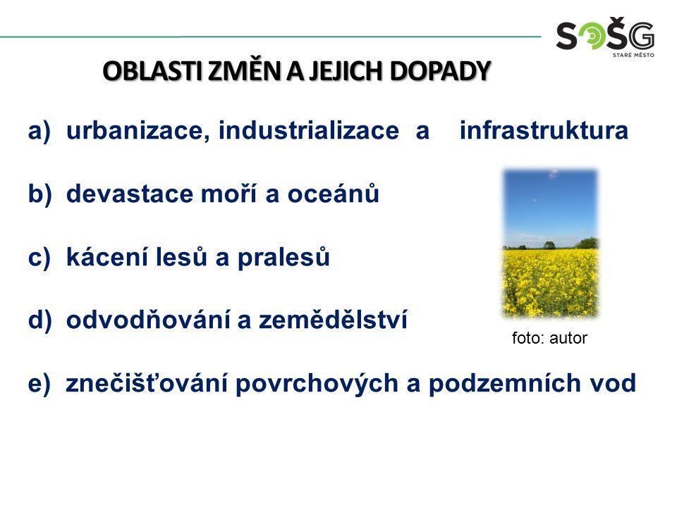 OBLASTI ZMĚN A JEJICH DOPADY a)urbanizace, industrializace a infrastruktura b)devastace moří a oceánů c)kácení lesů a pralesů d)odvodňování a zeměděls