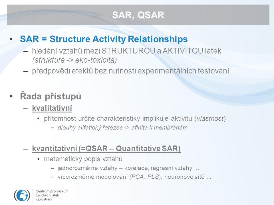 SAR, QSAR SAR = Structure Activity Relationships –hledání vztahů mezi STRUKTUROU a AKTIVITOU látek (struktura -> eko-toxicita) –předpovědi efektů bez nutnosti experimentálních testování Řada přístupů –kvalitativní přítomnost určité charakteristiky implikuje aktivitu (vlastnost) –dlouhý alifatický řetězec -> afinita k membránám –kvantitativní (=QSAR – Quantitative SAR) matematický popis vztahů –jednorozměrné vztahy – korelace, regresní vztahy...