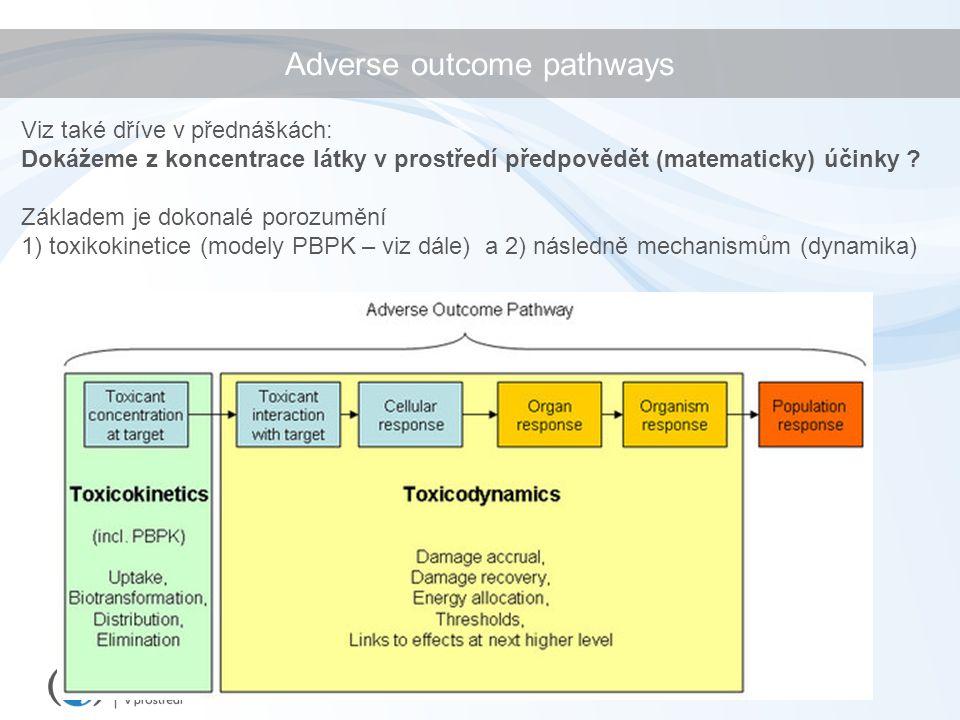 Adverse outcome pathways Viz také dříve v přednáškách: Dokážeme z koncentrace látky v prostředí předpovědět (matematicky) účinky .