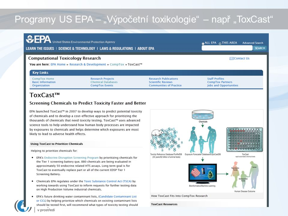 """Programy US EPA – """"Výpočetní toxikologie"""" – např """"ToxCast"""""""