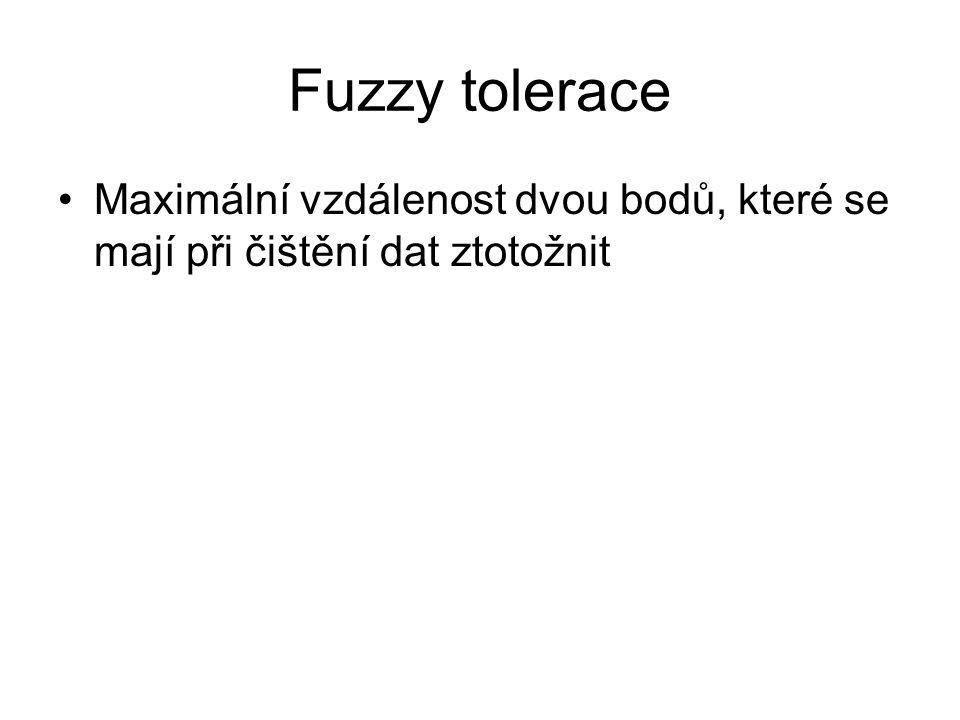 Fuzzy tolerace Maximální vzdálenost dvou bodů, které se mají při čištění dat ztotožnit