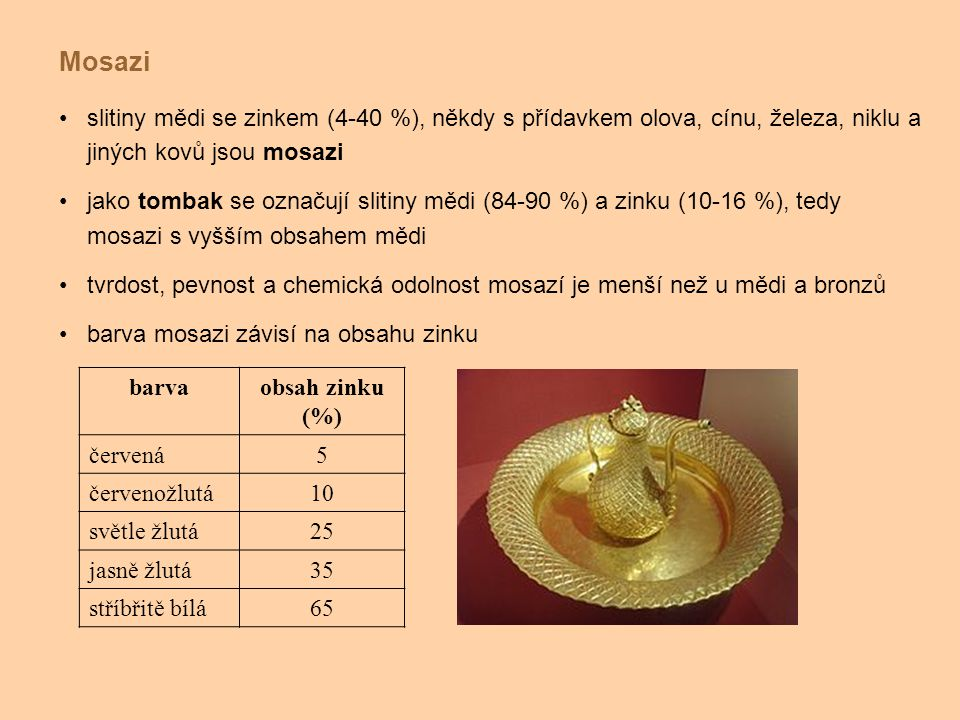 slitiny mědi se zinkem (4-40 %), někdy s přídavkem olova, cínu, železa, niklu a jiných kovů jsou mosazi jako tombak se označují slitiny mědi (84-90 %)