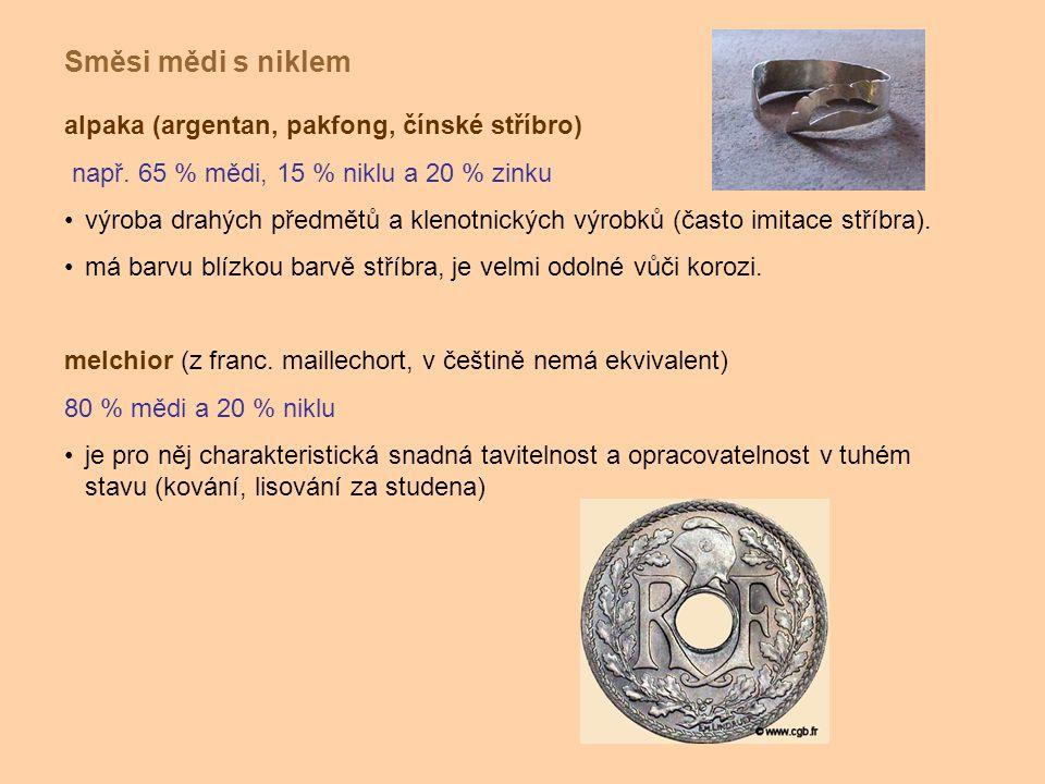 alpaka (argentan, pakfong, čínské stříbro) např. 65 % mědi, 15 % niklu a 20 % zinku výroba drahých předmětů a klenotnických výrobků (často imitace stř