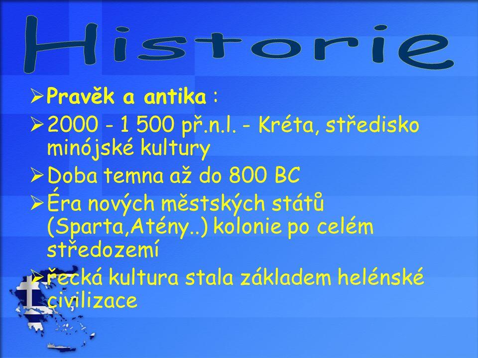  Pravěk a antika :  2000 - 1 500 př.n.l. - Kréta, středisko minójské kultury  Doba temna až do 800 BC  Éra nových městských států (Sparta,Atény..)