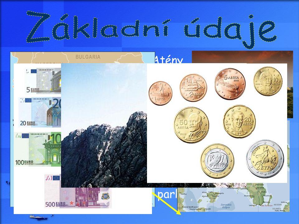  Hlavní město: Atény  Rozloha: 131 940 km²  Počet obyvatel: 10 706 290  Hustota zalidnění: 81 ob. / km²  Úřední jazyk: řečtina  Nejvyšší bod: Ol