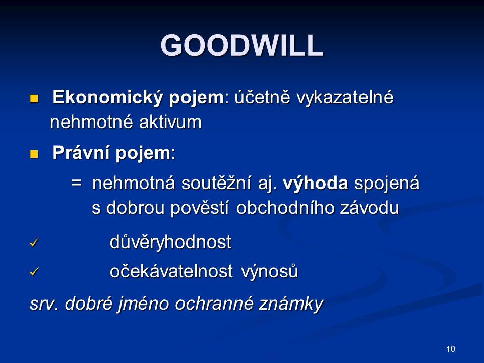 10 GOODWILL Ekonomický pojem: účetně vykazatelné Ekonomický pojem: účetně vykazatelné nehmotné aktivum nehmotné aktivum Právní pojem: Právní pojem: =