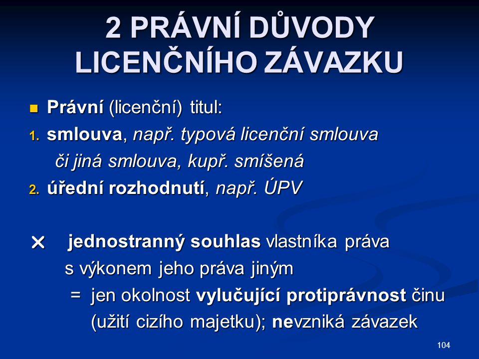 2 PRÁVNÍ DŮVODY LICENČNÍHO ZÁVAZKU Právní (licenční) titul: Právní (licenční) titul: 1. smlouva, např. typová licenční smlouva či jiná smlouva, kupř.
