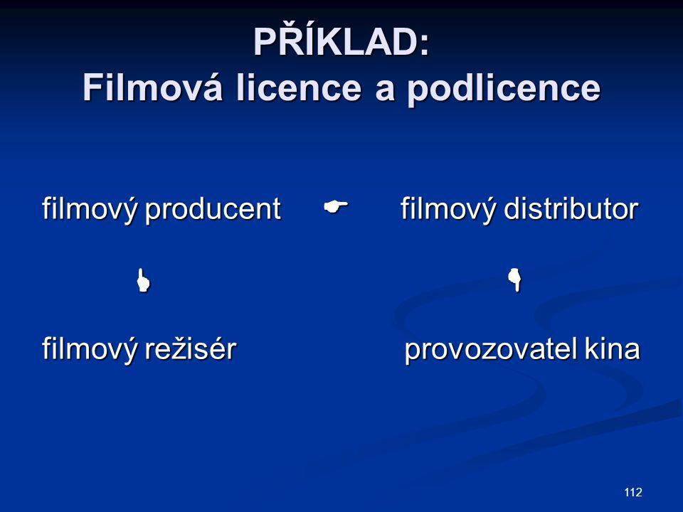 112 PŘÍKLAD: Filmová licence a podlicence filmový producent  filmový distributor     filmový režisér provozovatel kina
