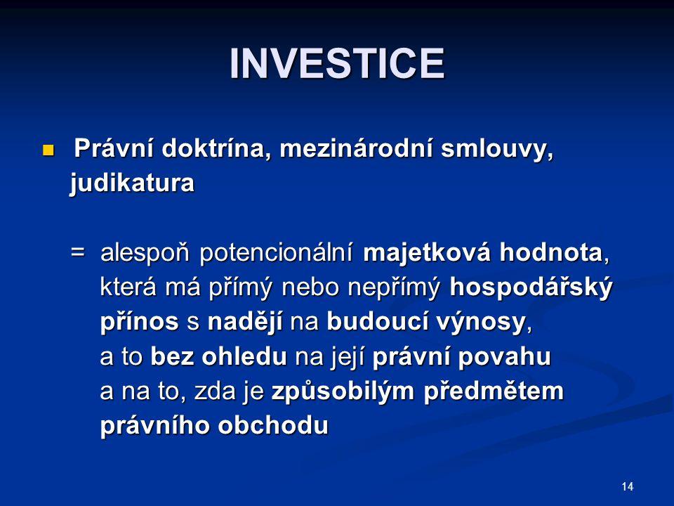 14 INVESTICE Právní doktrína, mezinárodní smlouvy, Právní doktrína, mezinárodní smlouvy, judikatura judikatura = alespoň potencionální majetková hodno