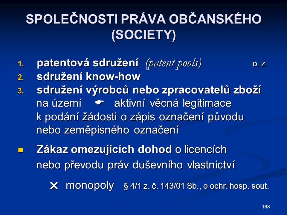 168 SPOLEČNOSTI PRÁVA OBČANSKÉHO (SOCIETY) 1. patentová sdružení (patent pools) o. z. 2. sdružení know-how 3. sdružení výrobců nebo zpracovatelů zboží