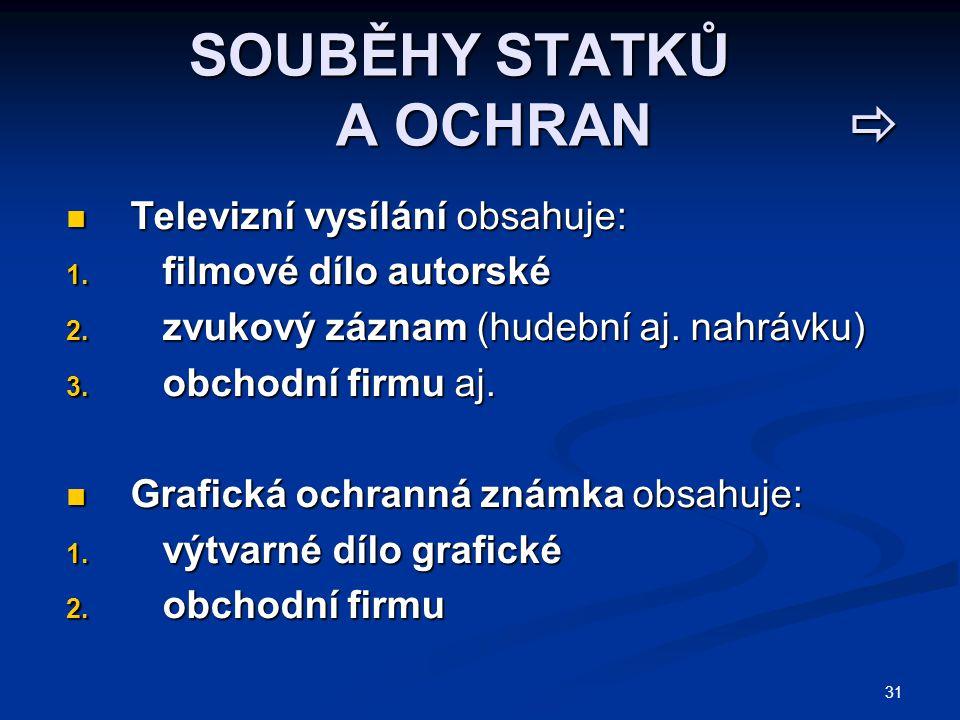 31 SOUBĚHY STATKŮ A OCHRAN  SOUBĚHY STATKŮ A OCHRAN  Televizní vysílání obsahuje: Televizní vysílání obsahuje: 1. filmové dílo autorské 2. zvukový z