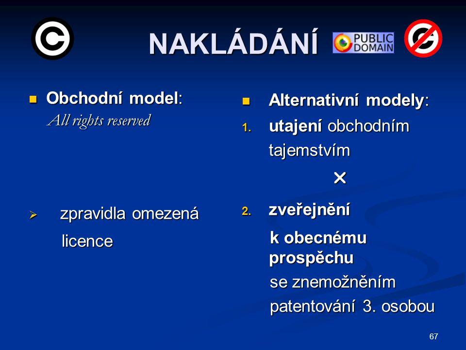 67 NAKLÁDÁNÍ Obchodní model: Obchodní model: All rights reserved All rights reserved  zpravidla omezená licence licence Alternativní modely: 1. utaje