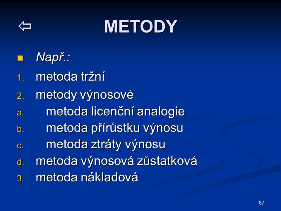 87  METODY Např.: Např.: 1. metoda tržní 2. metody výnosové a. metoda licenční analogie b. metoda přírůstku výnosu c. metoda ztráty výnosu d. metoda