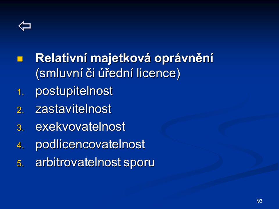93  Relativní majetková oprávnění (smluvní či úřední licence) Relativní majetková oprávnění (smluvní či úřední licence) 1. postupitelnost 2. zastavit