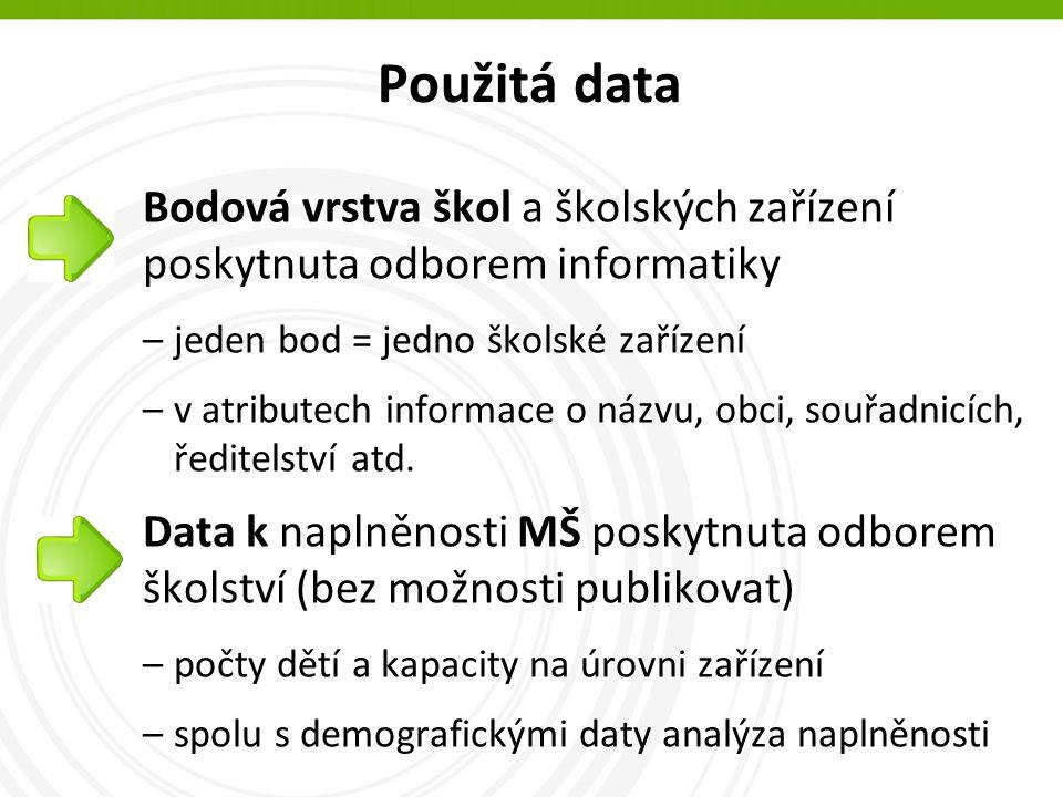 Použitá data Bodová vrstva škol a školských zařízení poskytnuta odborem informatiky –jeden bod = jedno školské zařízení –v atributech informace o názvu, obci, souřadnicích, ředitelství atd.