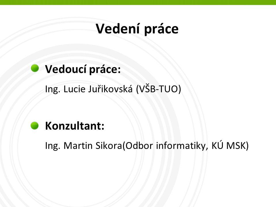 Vedení práce Vedoucí práce: Ing. Lucie Juřikovská (VŠB-TUO) Konzultant: Ing.
