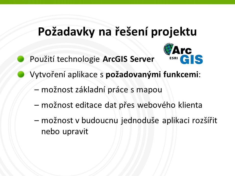 Požadavky na řešení projektu Použití technologie ArcGIS Server Vytvoření aplikace s požadovanými funkcemi: –možnost základní práce s mapou –možnost editace dat přes webového klienta –možnost v budoucnu jednoduše aplikaci rozšířit nebo upravit
