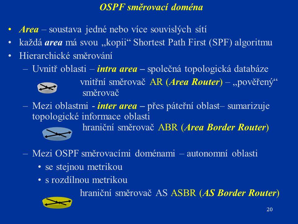"""20 OSPF směrovací doména Area – soustava jedné nebo více souvislých sítí každá area má svou """"kopii Shortest Path First (SPF) algoritmu Hierarchické směrování –Uvnitř oblasti – intra area – společná topologická databáze vnitřní směrovač AR (Area Router) – """"pověřený směrovač –Mezi oblastmi - inter area – přes páteřní oblast– sumarizuje topologické informace oblasti hraniční směrovač ABR (Area Border Router) –Mezi OSPF směrovacími doménami – autonomní oblasti se stejnou metrikou s rozdílnou metrikou hraniční směrovač AS ASBR (AS Border Router)"""