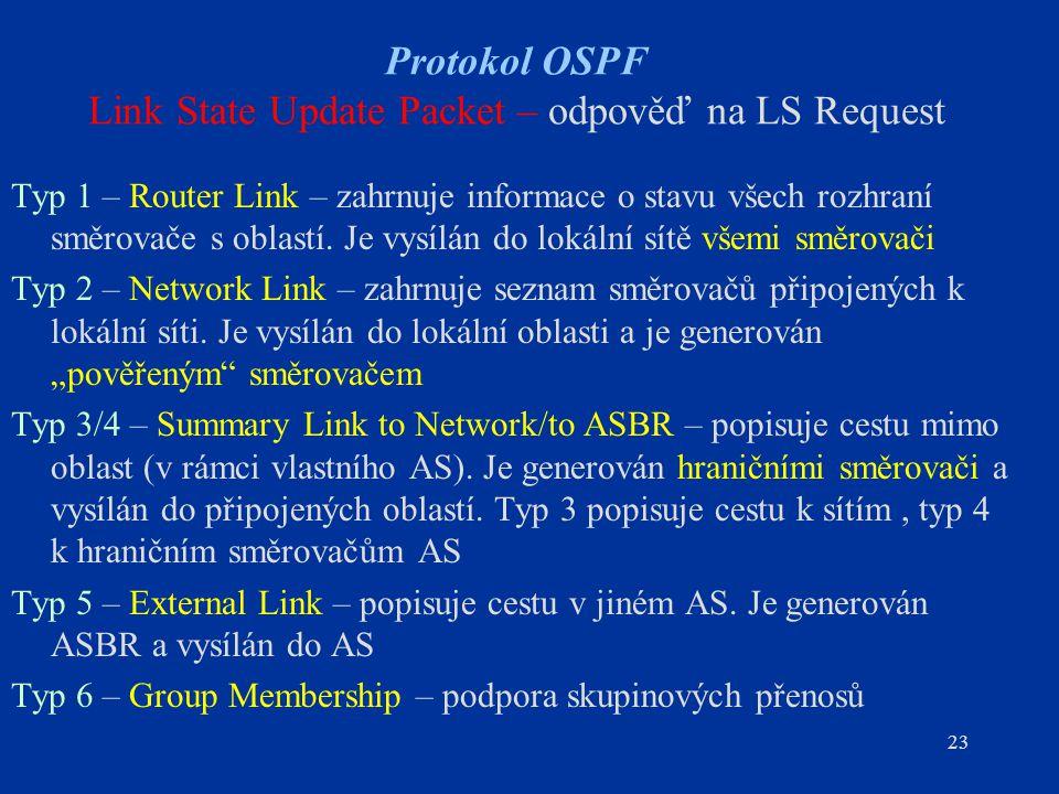 23 Protokol OSPF Link State Update Packet – odpověď na LS Request Typ 1 – Router Link – zahrnuje informace o stavu všech rozhraní směrovače s oblastí.