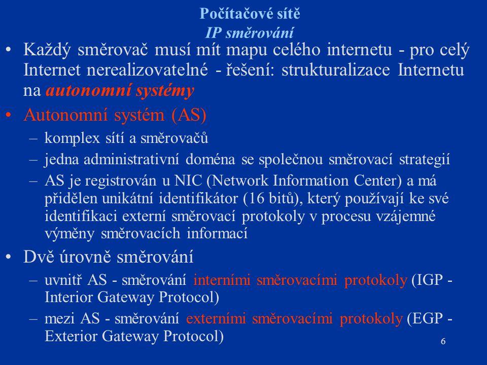 27 IP směrování Externí protokoly - BGP Typy zpráv BGP –OPEN – navázání spojení se sousedním routerem (jsou na stejné IP síti/subsíti) –UPDATE – předání informace o sítích, které jsou dosažitelné touto směrovací cestou a/nebo informace o změně směrovacích cest –KEEPALIVE – periodické ověření spojení se sousedním routerem –NOTIFICATION – chybová zpráva