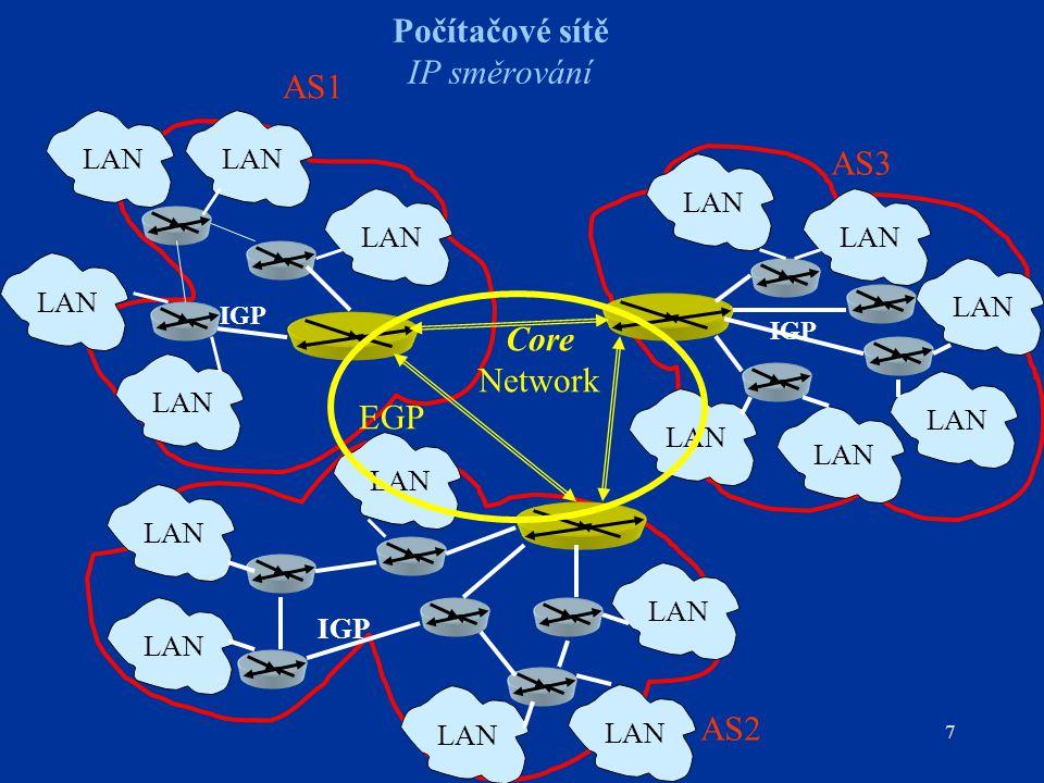 """18 Počítačové sítě OSPF – Open Shortest Path First Směrovací protokol na principu algoritmu LSA Metrika """"cost přiřazená administrátorem každému spoji – podpora ToS (Delay, Throughput, Reliability) – ToS = 0, pak """"cost = šířka přenosového pásma Možnost vytvářet paralelní cesty (stejná metrika) – rozdělení zatížení sítě (load balancing) OSPF vytváří hierarchické sítě tvořené směrovacími oblastmi (area), OSPF definuje více typů směrovačů generujících OSPF zprávy příslušných typů Šíření zpráv mezi OSPF směrovači – přenosy """"multicast 224.0.0.5všechny OSPF směrovače sítě 224.0.0.6""""pověřený směrovač (designed router)"""
