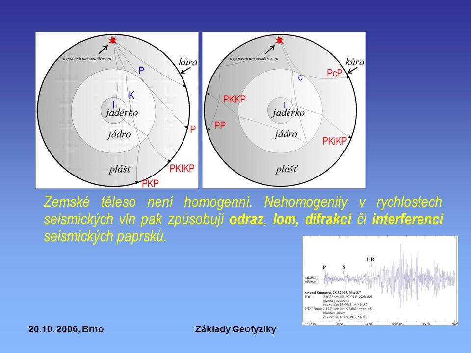 20.10. 2006, BrnoZáklady Geofyziky Zemské těleso není homogenní. Nehomogenity v rychlostech seismických vln pak způsobují odraz, lom, difrakci či inte