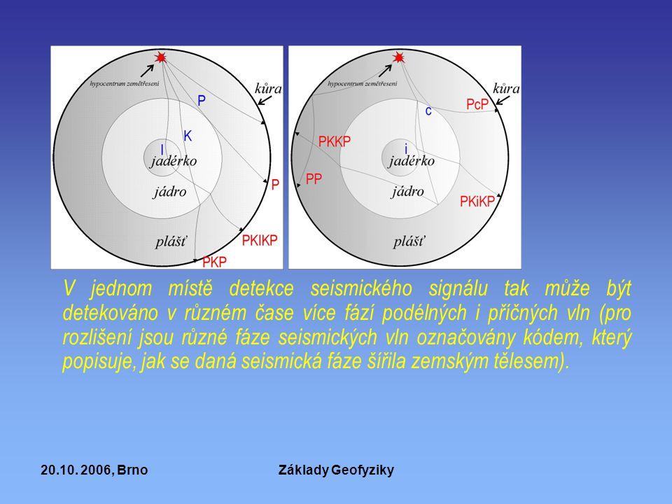 20.10. 2006, BrnoZáklady Geofyziky V jednom místě detekce seismického signálu tak může být detekováno v různém čase více fází podélných i příčných vln