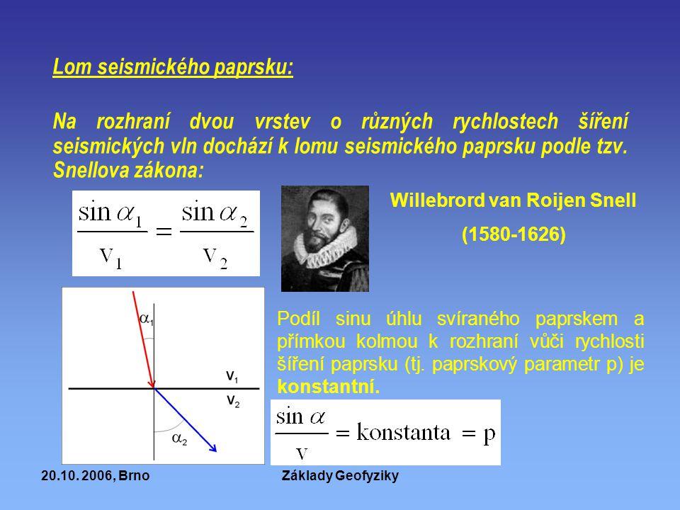 20.10. 2006, BrnoZáklady Geofyziky Lom seismického paprsku: Na rozhraní dvou vrstev o různých rychlostech šíření seismických vln dochází k lomu seismi