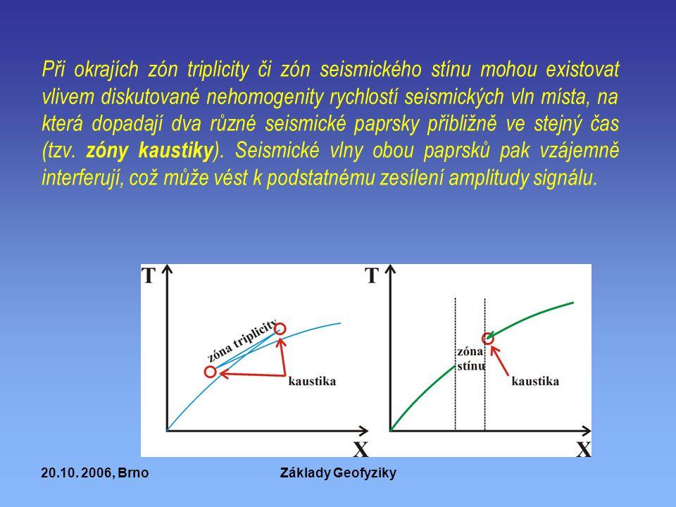 20.10. 2006, BrnoZáklady Geofyziky Při okrajích zón triplicity či zón seismického stínu mohou existovat vlivem diskutované nehomogenity rychlostí seis
