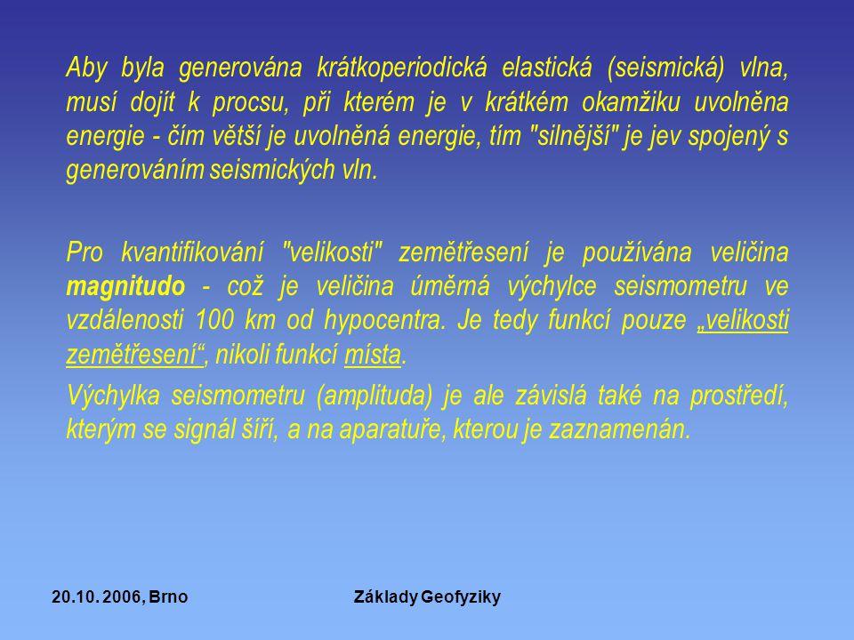 20.10. 2006, BrnoZáklady Geofyziky Aby byla generována krátkoperiodická elastická (seismická) vlna, musí dojít k procsu, při kterém je v krátkém okamž