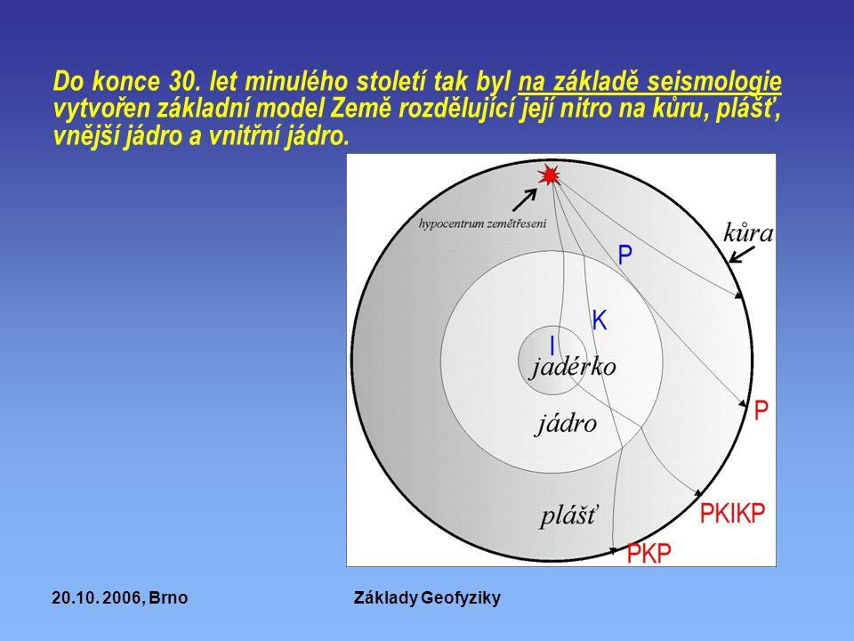 20.10. 2006, BrnoZáklady Geofyziky Do konce 30. let minulého století tak byl na základě seismologie vytvořen základní model Země rozdělující její nitr