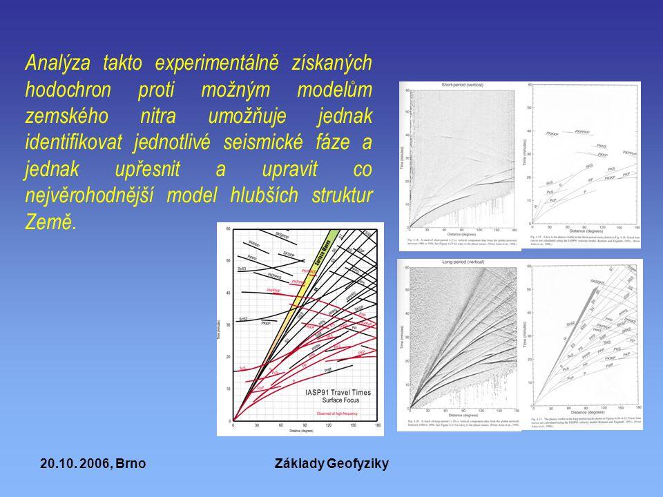 20.10. 2006, BrnoZáklady Geofyziky Analýza takto experimentálně získaných hodochron proti možným modelům zemského nitra umožňuje jednak identifikovat