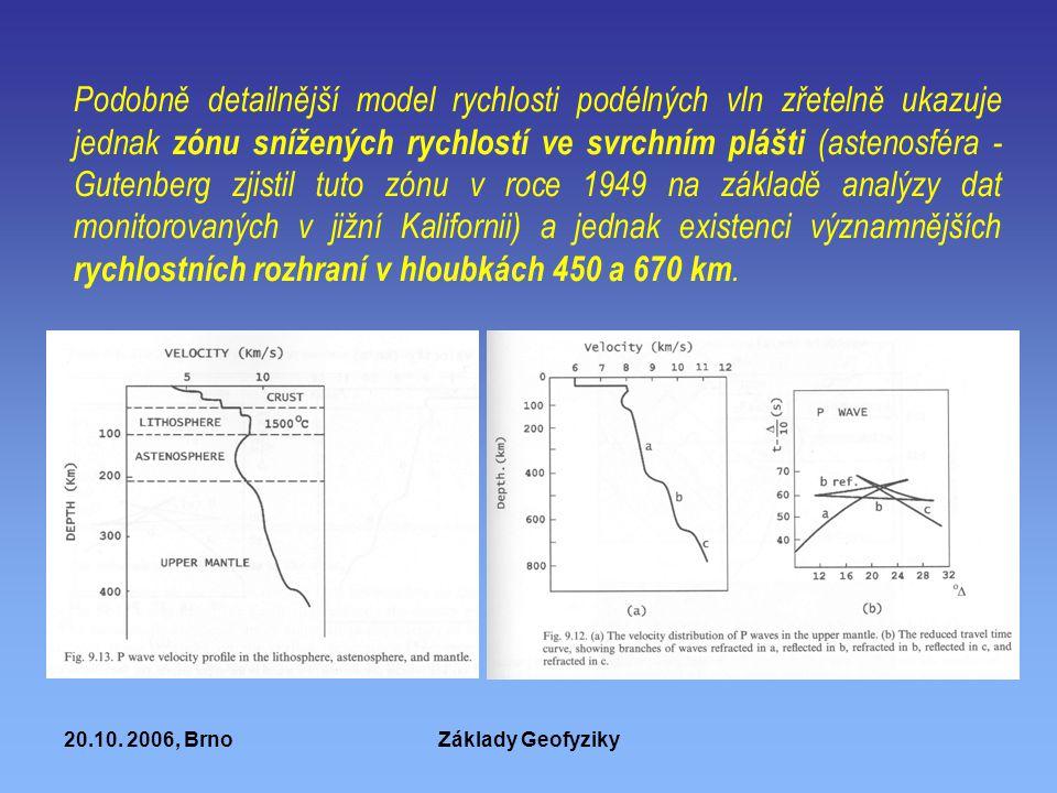 20.10. 2006, BrnoZáklady Geofyziky Podobně detailnější model rychlosti podélných vln zřetelně ukazuje jednak zónu snížených rychlostí ve svrchním pláš