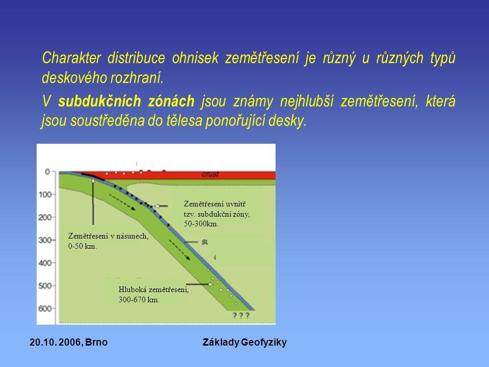 20.10. 2006, BrnoZáklady Geofyziky Charakter distribuce ohnisek zemětřesení je různý u různých typů deskového rozhraní. V subdukčních zónách jsou znám