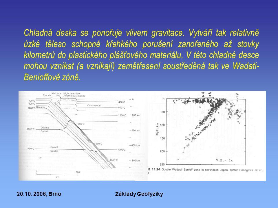20.10. 2006, BrnoZáklady Geofyziky Chladná deska se ponořuje vlivem gravitace. Vytváří tak relativně úzké těleso schopné křehkého porušení zanořeného
