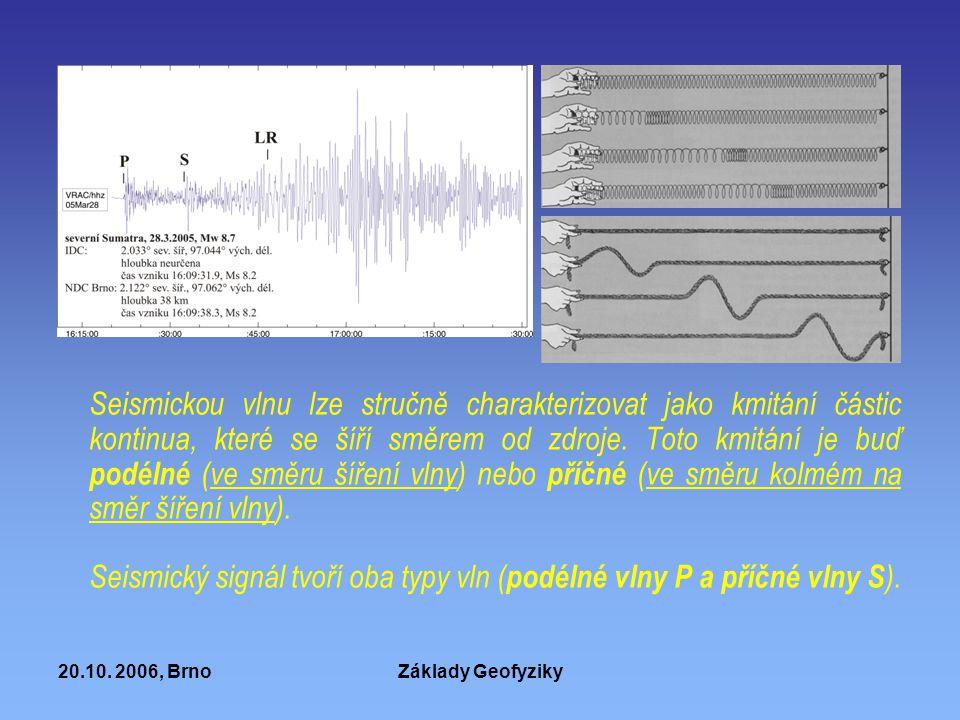 20.10. 2006, BrnoZáklady Geofyziky Seismickou vlnu lze stručně charakterizovat jako kmitání částic kontinua, které se šíří směrem od zdroje. Toto kmit