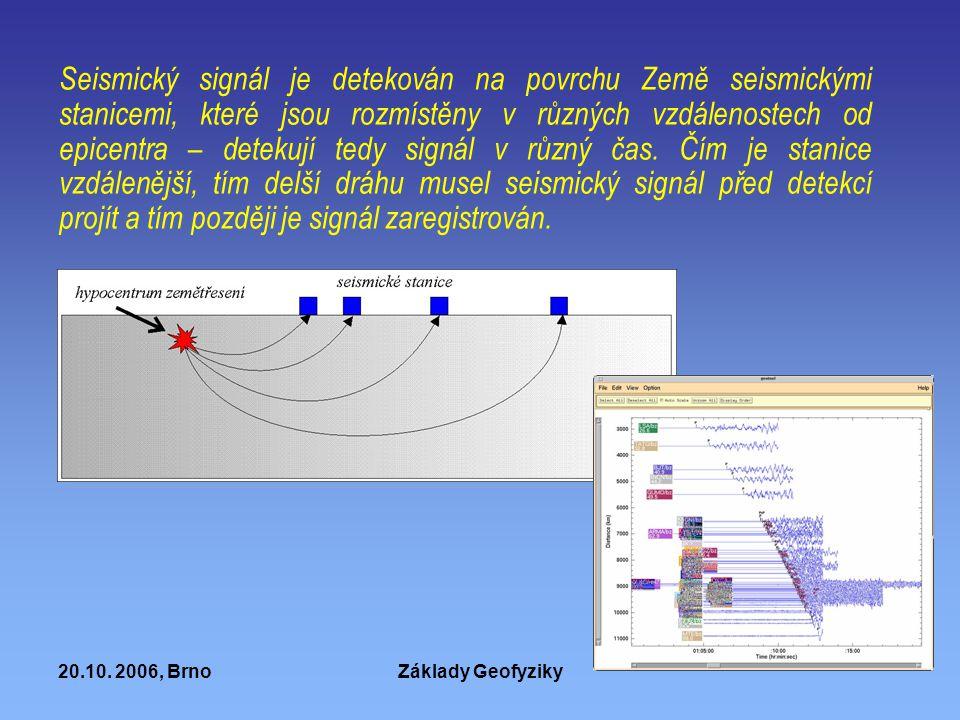 20.10. 2006, BrnoZáklady Geofyziky Seismický signál je detekován na povrchu Země seismickými stanicemi, které jsou rozmístěny v různých vzdálenostech