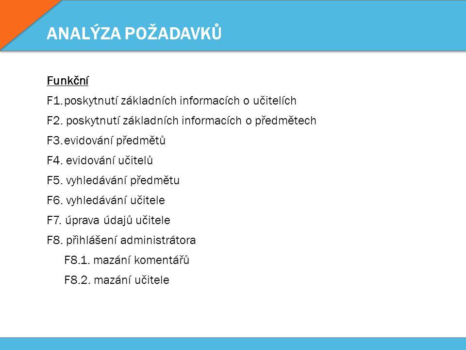 ANALÝZA POŽADAVKŮ Funkční F1.poskytnutí základních informacích o učitelích F2. poskytnutí základních informacích o předmětech F3.evidování předmětů F4