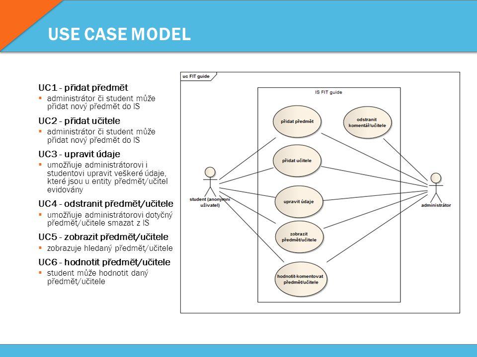 USE CASE MODEL UC1 - přidat předmět  administrátor či student může přidat nový předmět do IS UC2 - přidat učitele  administrátor či student může přidat nový předmět do IS UC3 - upravit údaje  umožňuje administrátorovi i studentovi upravit veškeré údaje, které jsou u entity předmět/učitel evidovány UC4 - odstranit předmět/učitele  umožňuje administrátorovi dotyčný předmět/učitele smazat z IS UC5 - zobrazit předmět/učitele  zobrazuje hledaný předmět/učitele UC6 - hodnotit předmět/učitele  student může hodnotit daný předmět/učitele