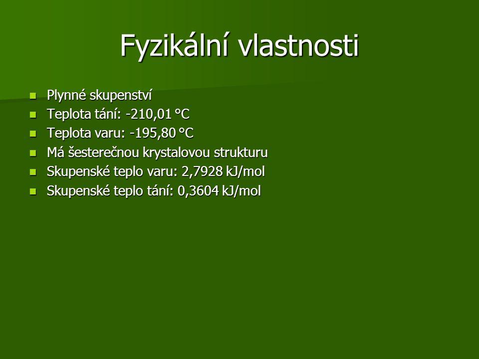 Fyzikální vlastnosti Plynné skupenství Plynné skupenství Teplota tání: -210,01 °C Teplota tání: -210,01 °C Teplota varu: -195,80 °C Teplota varu: -195