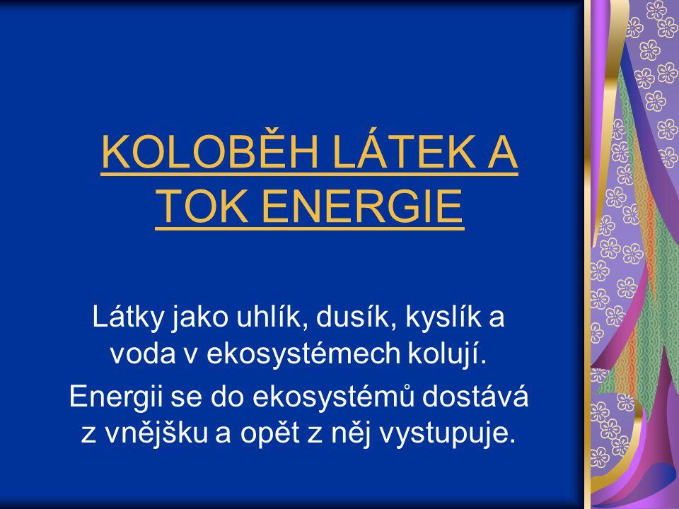 KOLOBĚH LÁTEK A TOK ENERGIE Látky jako uhlík, dusík, kyslík a voda v ekosystémech kolují. Energii se do ekosystémů dostává z vnějšku a opět z něj vyst