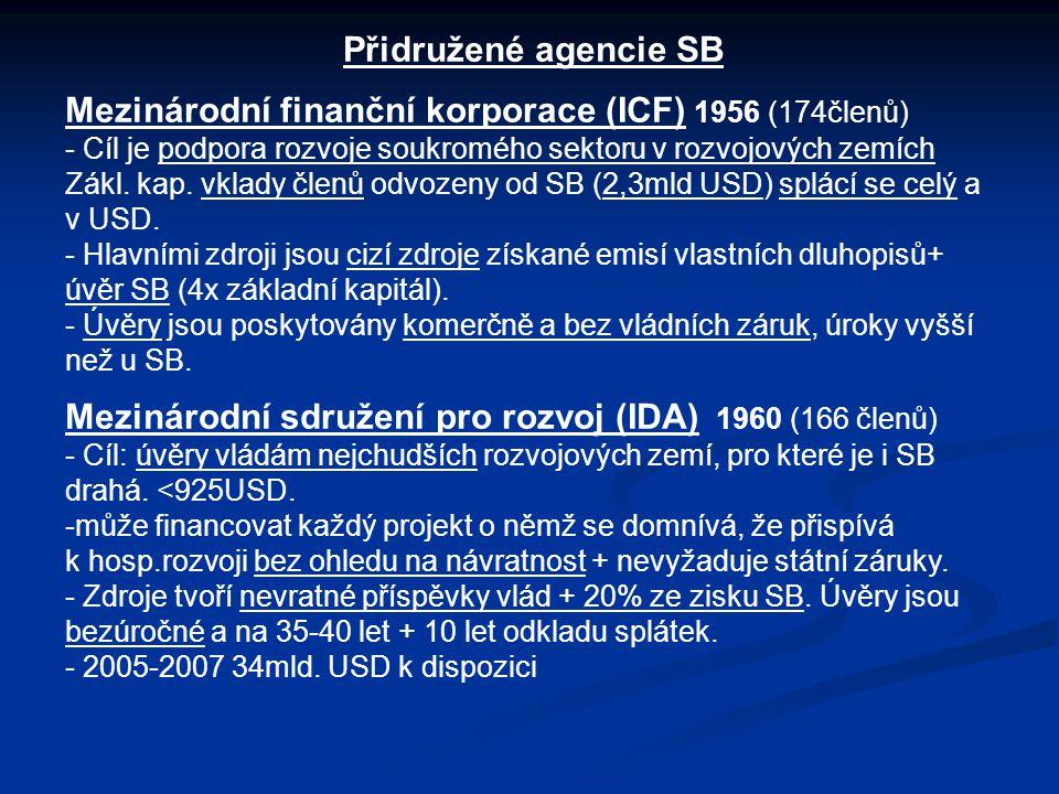 Přidružené agencie SB Mezinárodní finanční korporace (ICF) 1956 (174členů) - Cíl je podpora rozvoje soukromého sektoru v rozvojových zemích Zákl. kap.
