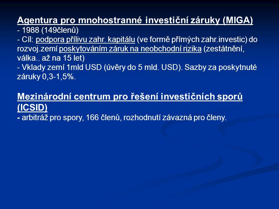 Agentura pro mnohostranné investiční záruky (MIGA) - 1988 (149členů) - Cíl: podpora přílivu zahr. kapitálu (ve formě přímých zahr.investic) do rozvoj.
