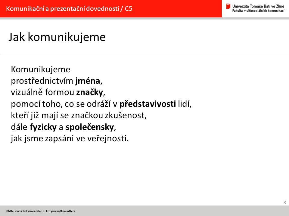 8 PhDr. Pavla Kotyzová, Ph. D., kotyzova@fmk.utb.cz Jak komunikujeme Komunikační a prezentační dovednosti / C5 Komunikujeme prostřednictvím jména, viz
