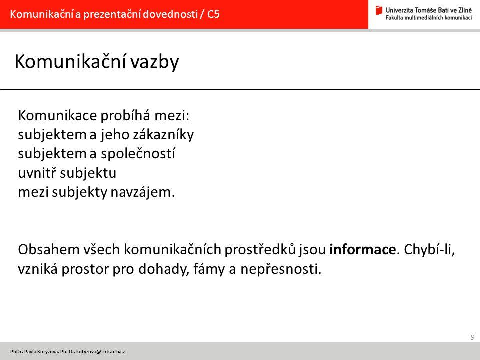 9 PhDr. Pavla Kotyzová, Ph. D., kotyzova@fmk.utb.cz Komunikační vazby Komunikační a prezentační dovednosti / C5 Komunikace probíhá mezi: subjektem a j